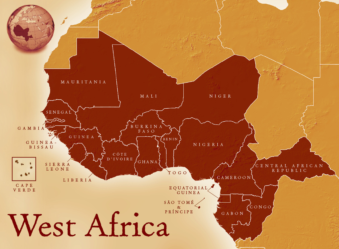 west africa map labeled